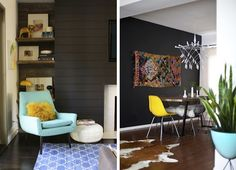Another example of how dark wall colors can really add drama to a space...especially when a punch yellow and aqua blue are thrown into the mix. I love the horizontal paneling too ~ very mod!