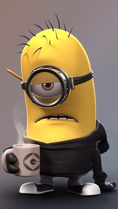 Minion needs his coffee. Despicable Me Minion Fan Art / Coffee Shop Stuff Amor Minions, Despicable Me 2 Minions, Cute Minions, My Minion, Minions Quotes, Minion Stuff, Funny Minion, Minions Images, Minion Banana