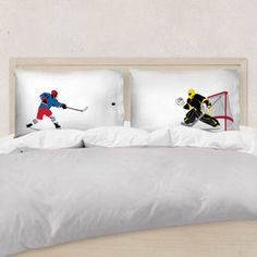 Our standard sized hockey pillowcases are the ideal bedroom decor for hockey players. Select designs can be personalized for a hockey gift players will love. Boys Hockey Room, Hockey Room Decor, Hockey Girls, Hockey Mom, Hockey Stuff, Girls Lacrosse, Quotes Girlfriend, Hockey Girlfriend, Rink Hockey