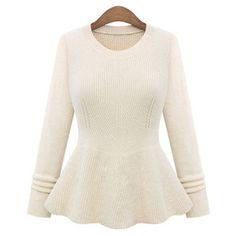 SheIn(sheinside) Beige Round Neck Ruffle Knit Sweater