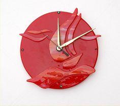 Clocks - Decor : Fused glass wall clock red sail boat by on Etsy - Decor Object Clock Art, Clock Decor, Fused Glass Art, Dichroic Glass, Traditional Clocks, Wall Watch, Tiffany, How To Make Wall Clock, Wood Clocks