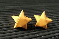 Star Earrings. Orange Star Earrings. Oragami Star Earrings. Paper Star Earrings. Silver Post Earrings. Stud Earrings. Origami Jewelry. by StumblingOnSainthood from Stumbling On Sainthood. Find it now at http://ift.tt/1r38Df4!