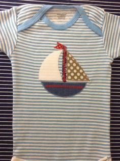 Baby boy sailboat appliqué onesie bodysuit: Light blue stripe cotton short sleeve onesie--long sleeve available in some sizes Cotton sailboat appliqué in denim, white, & brown dot with red decorative stitching Sizes months Machine washable--air dry Boy Onsies, Onesies, Applique Onesie, Baby Gifts, Baby Boy, Bodysuit, Sailboat, Sewing, Trending Outfits