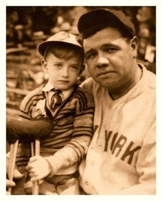 Babe Ruth & The Boy With Crutches -   The Babe's empathy for sick/injured children really comes out in this one. I'd say that this was taken sometime in the early 1930's.