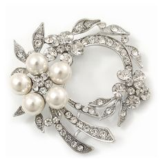 White Synthetic Pearl/ Clear Crystal Wreath Brooch In Rhodium Plating - 5cm Diameter - CH11C01RTPD - Brooches & Pins  #jewellrix #Brooches #Pins #jewelry #fashionstyle