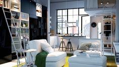 Pour les petits espaces, favorisez les espaces de rangement pour épurer au maximum votre #salon et le rendre plus grand.