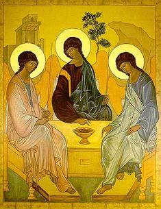 Icon Reproduction - Old Testament Trinity Catholic Art, Catholic Prayers, Religious Icons, Religious Art, Paint Icon, Christ The King, Jesus Art, Byzantine Icons, Biblical Art