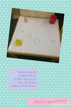 Match the shape to its outline. Can you spot the similarities between the outline and the shape's faces? Maths Eyfs, Kindergarten Math Activities, Phonics Activities, Preschool Math, Numeracy, Teaching Math, 3d Shapes Activities, Investigation Area, Snowflake Invitations