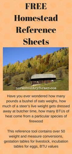 This reference tool contains over 50 weight and measure conversions, gestation tables for livestock, incubation tables for eggs, BTU values for over 30 types of firewood, as well as other handy bits of rural wisdom.