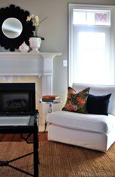 ikea kivik chair, orchid on mantel Living Room Pillows, Living Room Chairs, E Room, Ikea Chair, Ikea Sofa, Desk Chairs, Beige Walls, Reno, Living Room Inspiration