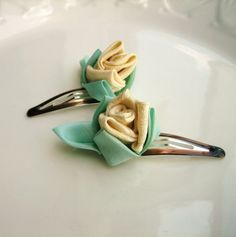 Hey, I found this really awesome Etsy listing at https://www.etsy.com/listing/103702603/yellow-flower-hair-clips-kanzashi