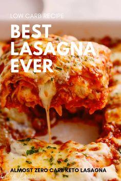 Best lasagna ever low carb keto friendly recipe Healthy Low Carb Recipes, Ketogenic Recipes, Healthy Foods To Eat, Low Carb Keto, Healthy Eating, Heart Healthy Lasagna Recipe, Diabetic Lasagna Recipe, Queijo Cottage, Aperitivos Keto