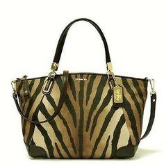 Coach New Madison Zebra Print Small Kelsey Handbag F28093: Msrp $298 Brown Multi Tote Bag $130