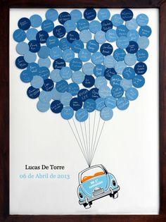 Libros de firmas para que los invitados dejen sus citas en los círculos de colores | www.amicode.es Baby Shower, Dyi Crafts, Ideas Para Fiestas, Wedding Guest Book, Balloons, Scrapbook, Birthday, Vw Bus, Success
