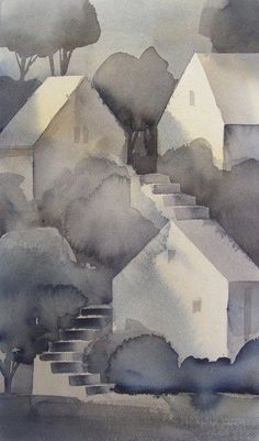 Watercolor Negative Painting, Watercolor City, Watercolor Landscape Paintings, Easy Watercolor, Watercolor Drawing, Abstract Landscape, Landscape Drawings, Painting & Drawing, Art Drawings