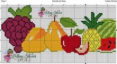Cross Stitch Music, Cross Stitch Fruit, Cross Stitch Kitchen, Cross Stitch Flowers, Crochet Borders, Crochet Stitches, Crochet Patterns, Cross Stitching, Cross Stitch Embroidery