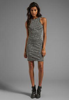 TIBI Patchwork Square Knit Dress in Black/White - Tibi