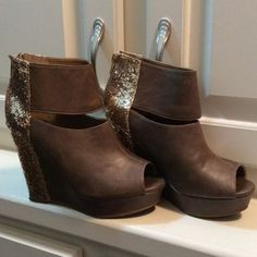 Brown w/Gold Glitter Bootie Very cute, worn a couple of times but in excellent condition Shoes