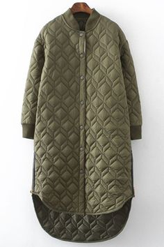 Argyle Stand Collar Solid Color Coat