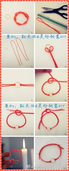 Yarn and gold ring bracelet