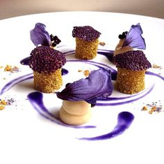 Caramelized chamomile, parsnip cream, black garlic pearls, chia, and red cabbage by @chefcicioni #TheArtOfPlating