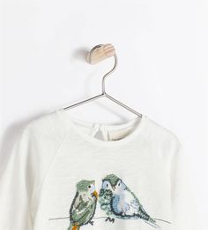 Image 3 de T-shirt oiseaux brodés de Zara