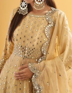 Golden Sequin and Mirror Embroidered Peplum Lehenga Mirror Work Saree Blouse, Mirror Work Dress, Mirror Work Lehenga, Sharara Designs, Lehenga Designs, Fancy Dress Design, Frock Design, Indian Designer Outfits, Designer Dresses