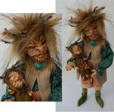 Oak & Acorn Father & Son Ancient Woodland Tree Elves OOAK Fairy Fairies Elf New #handmade
