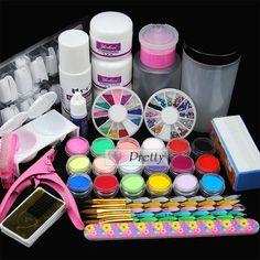New 18pcs Pro DIY Acrylic Powder Liquid Nail Art Kit Brush Clipper Glue Tips Set #Unbranded