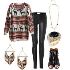 Great looking outfit for those cold wintery snowy days. You can dress up with the dangling earrings gold chain black onyx ring. The black leather boots  and the black stirrup pants just make the outfit complete.