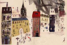 Javier Zabala. BARCELONA FÜR KINDER. Illustration. Inks, pastel, monotype, acrylics, collage, gouache, graphite.