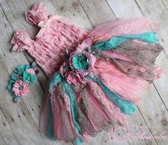 Items similar to Vintage Lacy Couture Dress and Tutu Skirt Set in Pink Gray and Teal Flower & Rhinestone Headband - Girls Headband - Photo Prop on Etsy Rhinestone Headband, Lace Headbands, Fairy Birthday Party, Teal Flowers, Tutus For Girls, Cute Outfits For Kids, Couture Dresses, Baby Dress, Kids Fashion