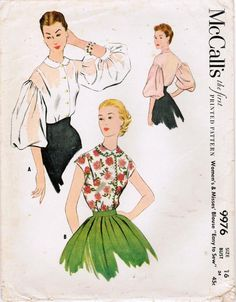 Pick a sheer chiffon or lawn and go totally dreamy with this gorgeous blouse from 1954, with its drop shoulders and optional balloon sleeves - McCall's 9976