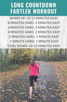 Need a break from traditional speed intervals? Try this effort-based fartlek countdown running workout to have fun while getting faster! Interval Running, Running Workouts, Running Tips, Fun Workouts, Interval Workouts, Running Club, Workout Warm Up, Track Workout, Tempo Run Workout