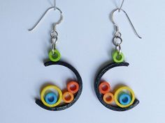 Chandelier Earrings – Moon + rings, red +yellow, Quilling Paper Earrings – a unique product by SusettaLee on DaWanda