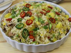 Thai Pineapple Fried with Smoked Sausage #rice #stir-fry #thai #smoked-sausage #fried pineapple #justapinchrecipes Rice Recipes, Asian Recipes, Cooking Recipes, Ethnic Recipes, Cabbage Recipes, What's Cooking, Pork Recipes, Healthy Cooking, Recipies