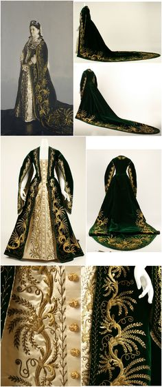 "Court robe, Russian, c. 1900. Silk, metallic threads and paillettes. The Metropolitan Museum of Art. Accompanying photo: ""Portrait of a Lady in a Court Uniform Dress,"" Russia, 1900s. Silver-bromide print, with gouache, water-color and white lead. State Hermitage Museum. CLICK FOR LARGER IMAGES."