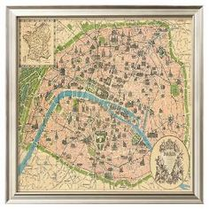 "<p>The Art.com ""Vintage Paris Map"" will make the perfect addition to your home. Your print will be custom framed with our contemporary 1.25"" wide COVENTRY Champagne wood frame in a stained finish. A durable overlay of premium clear acrylic creates a crystal clear display of your print and protects it from damage. We're so confident you'll love your framed art, it's 100% satisfaction guaranteed. </p&#6..."