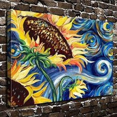COLORSFORU Wall Art Painting Sunflower Prints On Canvas The Picture Landscape Pictures Oil For Home Modern Decoration Print Decor For Living Room -- You can get additional details at the image link. (This is an affiliate link) Sunflower Wall Decor, Sunflower Art, Sunflower Paintings, Fall Canvas Painting, Canvas Art, Metal Tree Wall Art, Wow Art, Floral Wall Art, Painting Inspiration