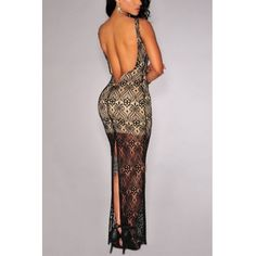 Cheap Fashion O Neck Tank Sleeveless Backless Split Black Lace Nude Illusion Sheath Ankle Length Dress