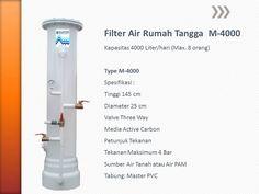 MASTER WATER SOLUTION menjual Filter Air berbahan dasar tabung dari PVC untuk kebutuhan rumah tangga untuk permasalahan air seperti kotor, berbau, berwarna kuning (zat besi tinggi), berkapur, kuning organik, dan permasalahan lainnya. Mulai dari 4000 Liter/hari (type M-4000), 6000 Liter/hari (type M-6000). Kami juga menjual untuk keutuhan rumah tangga berbahan FIBER, mulai dari 4000 Liter/hari (type MF-4000), 6000 Liter/hari (type MF-6000). Berikut ini adalah spesifikasinya :