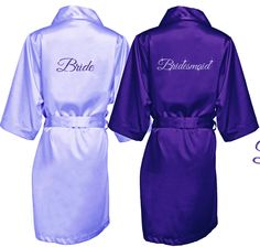 Sparkling Glitter Print Bridal Party Robe in Luxurious Silky Satin Purple Bridesmaid Dresses, Blue Bridesmaids, Wedding Bridesmaid Dresses, Purple Wedding, Chic Wedding, Wedding Ideas, Wedding Stuff, Dream Wedding, Bridal Party Robes