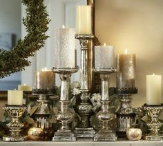 Beautiful candles for a christmas mantel