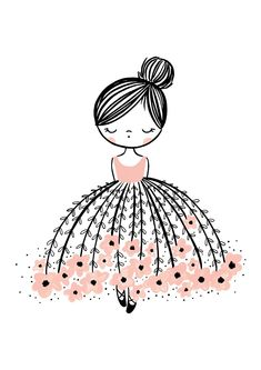 Flower Dress Dreamer Is A Stunning Illustrated Art Print For Girls, With A Pop Of Pink. #doodledrawings