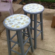Modge podge, fabric, spray paint! Up cycled bar stools