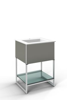 "Robern Adorn 24-1/4"" x 34-3/4"" x 21"" vanity in tinted gray mirror with push-to-open plumbing drawer, night light, towel bar on right side, legs in brushed aluminum and 25"" stone vanity top in quartz white with integrated center mount sink and single faucet hole"