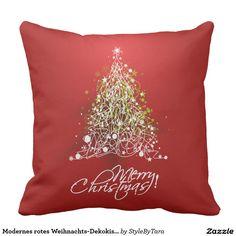 Modernes rotes Weihnachts-Dekokissen Kissen