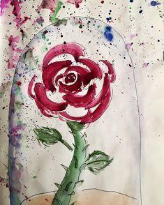 Rose Watercolour Sketchbook Painting with black pen by NyxStudioArt Rose Watercolour, Watercolor Sketchbook, 2d Art, Nyx, Garden Plants, Tapestry, Artwork, Painting, Black