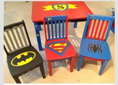 Batman superman spiderman chairs personalize table