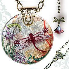 Voyageur SHIMMERZ - Nouveau Jardin Collection -Reversible Glass Art Necklace - Silver Nouveau Dragonfly